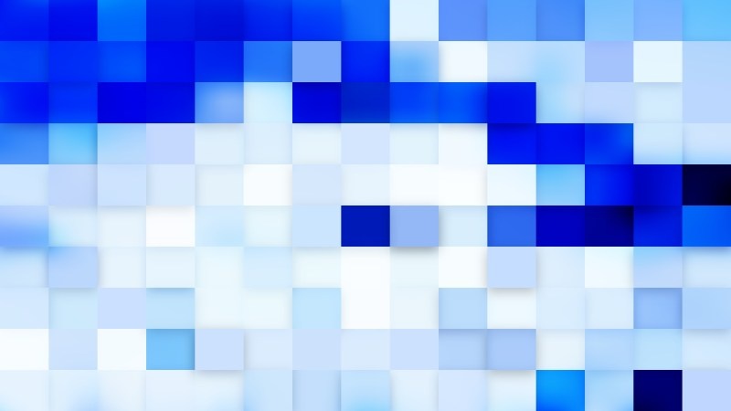 Blue and White Square Pixel Mosaic Background Vector Art
