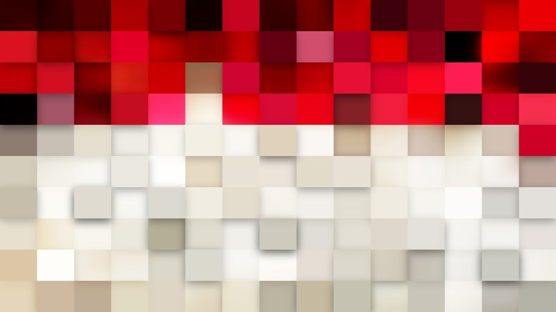 Abstract Red and White Square Mosaic Background