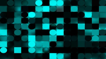 Abstract Black and Turquoise Circles and Squares Background Vector Graphic