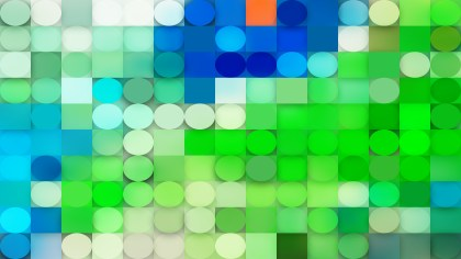 Blue and Green Circles and Squares Background Graphic