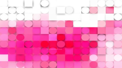 Pink and White Circles and Squares Background Vector