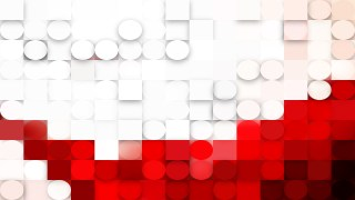 Abstract Red and White Circles and Squares Background