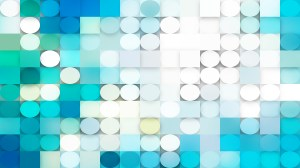 Abstract Turquoise and White Circles and Squares Background