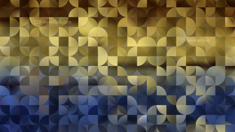 Blue and Gold Quarter Circles Background