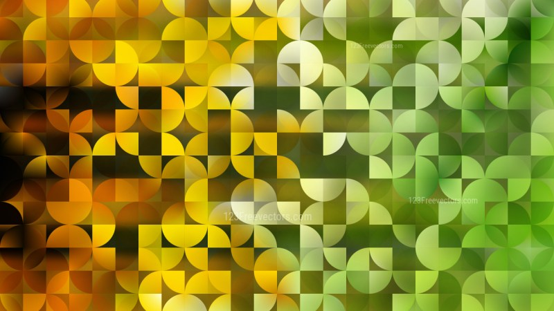 Abstract Green and Yellow Quarter Circles Background