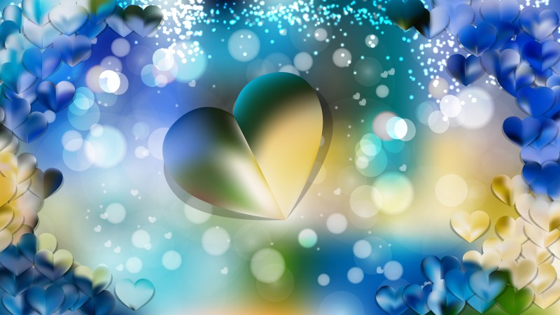 Blue and Yellow Heart Background