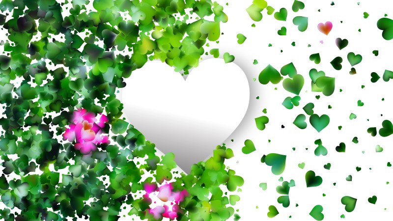 Green and White Heart Background Graphic