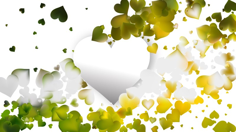 Green and White Heart Wallpaper Background Illustration