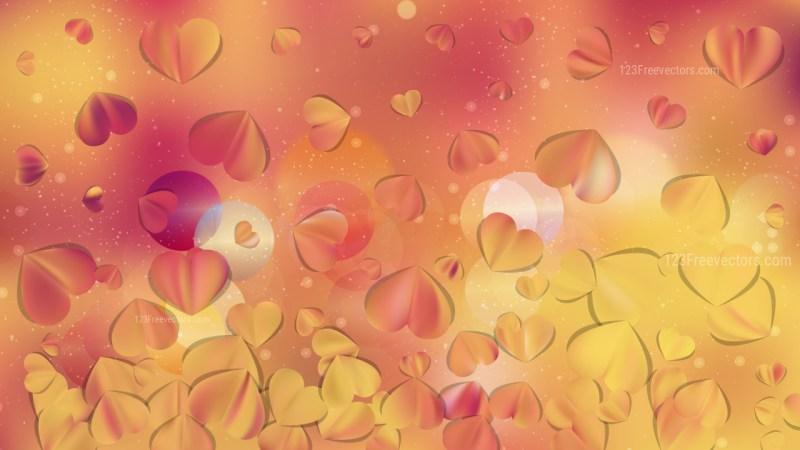 Orange Heart Background Vector Graphic