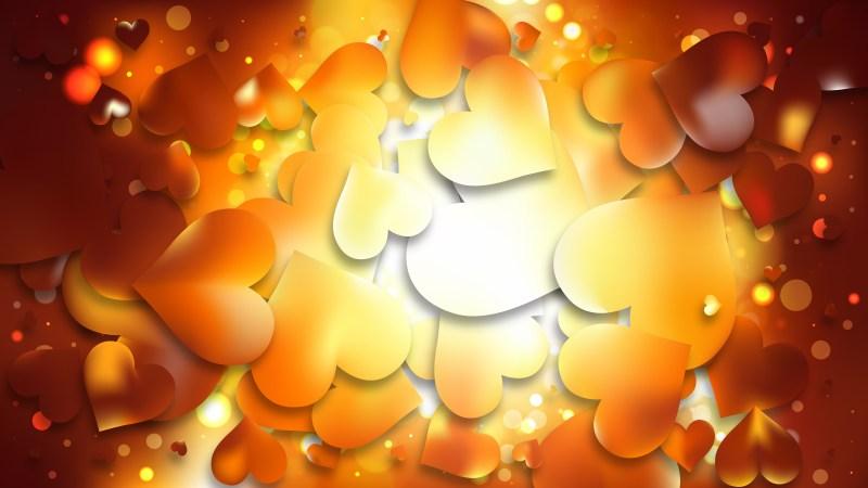 Orange Heart Wallpaper Background Vector Illustration