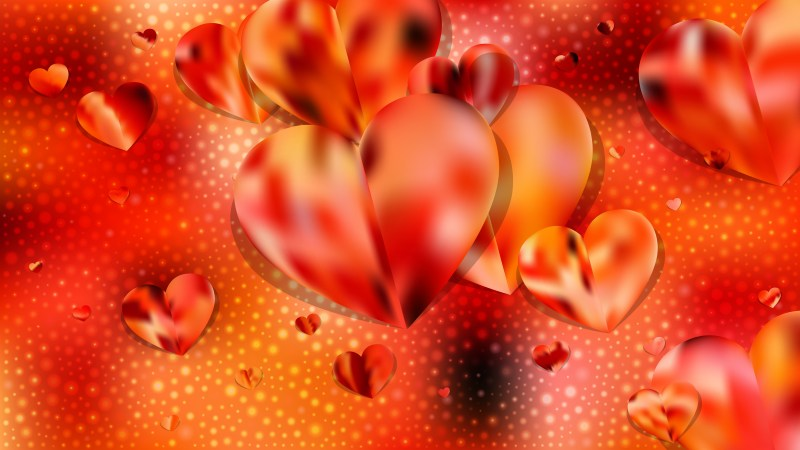 Orange Heart Background Vector Graphic