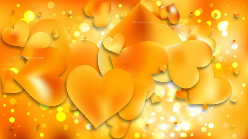 Orange Heart Wallpaper Background Illustration