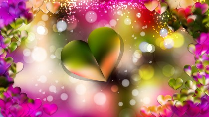 Pink and Green Heart Wallpaper Background