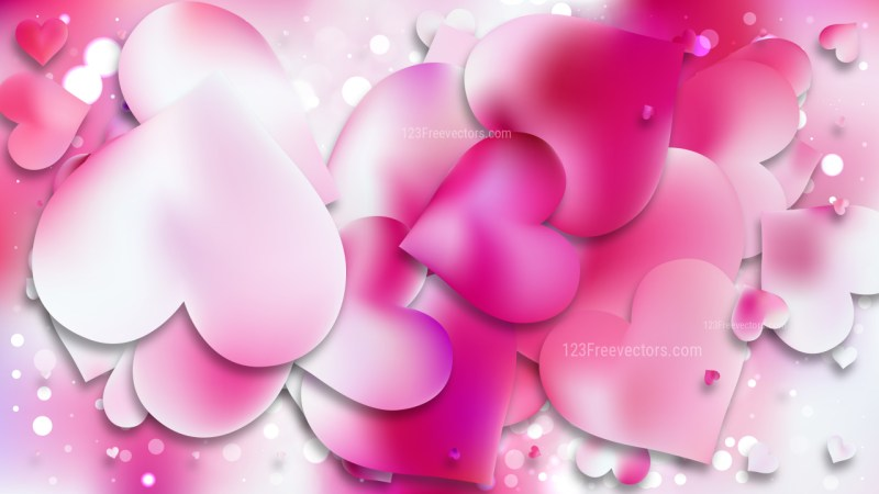 Pink and White Heart Wallpaper Background