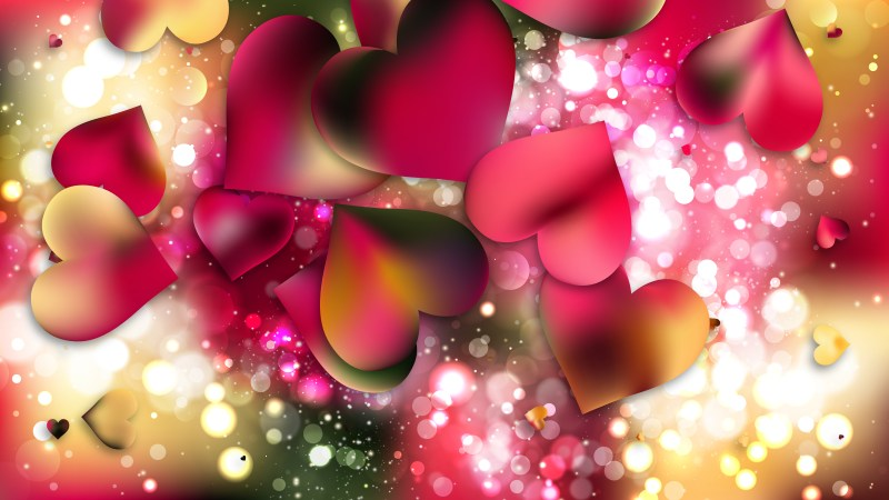 Pink and Yellow Heart Wallpaper Background Vector Illustration