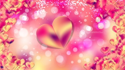 Pink and Yellow Heart Wallpaper Background Image