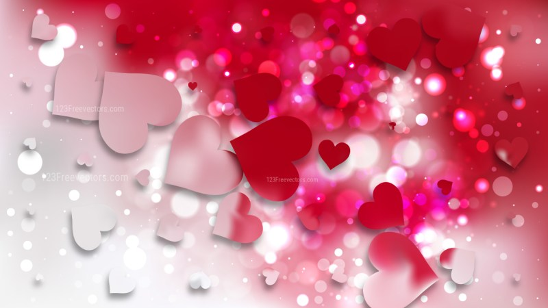 Red and White Heart Wallpaper Background Illustration