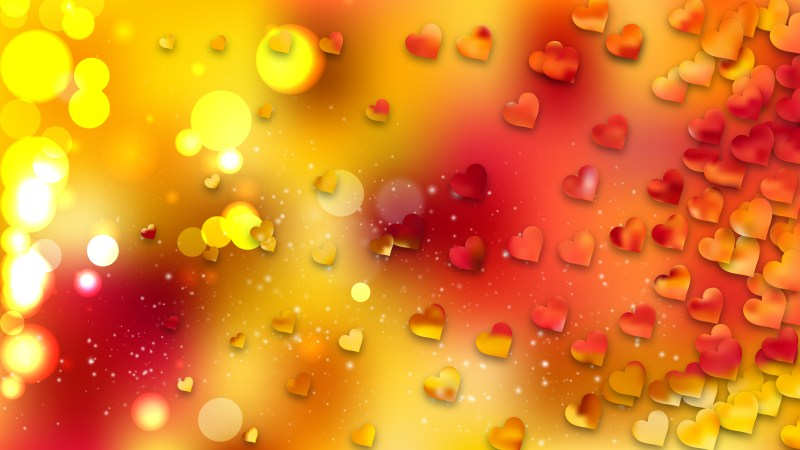 Red and Yellow Heart Wallpaper Background
