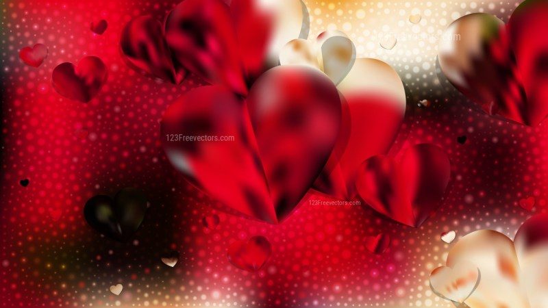 Red and Yellow Heart Wallpaper Background Vector Illustration