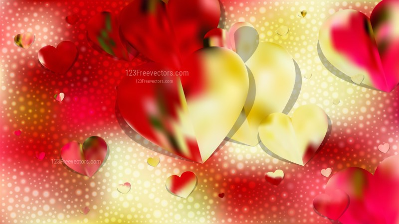 Red and Yellow Valentines Day Background Vector