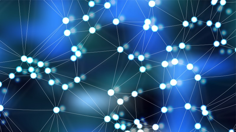 Abstract Black and Blue Connected Lines and Dots Background Vector Image