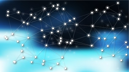 Connecting Dots and Lines Black and Blue Abstract Background Vector Illustration