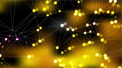 Connecting Dots and Lines Black and Gold Abstract Background