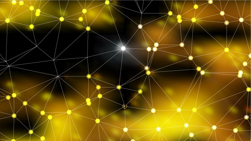 Connecting Dots and Lines Black and Gold Abstract Background Image