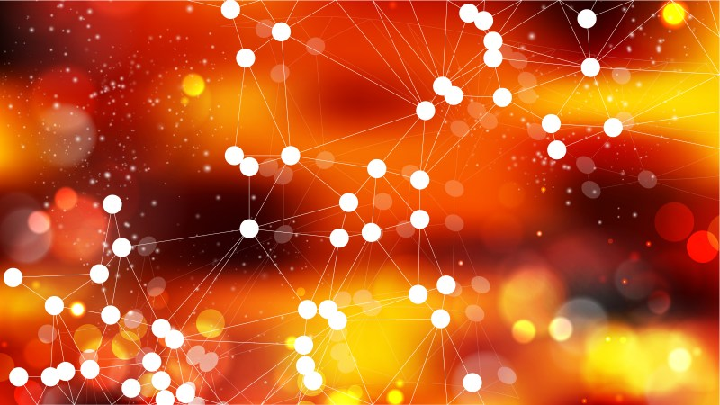 Connecting Dots and Lines Dark Orange Abstract Background