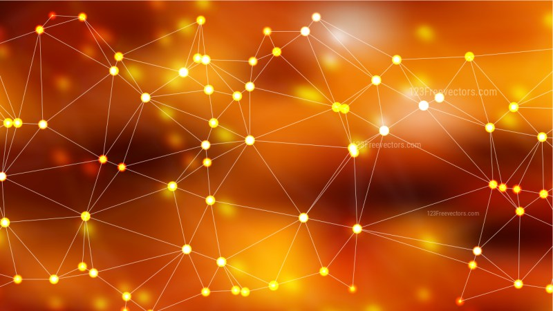 Abstract Dark Orange Connected Lines and Dots Background