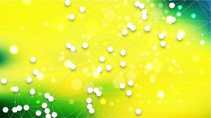 Abstract Green and Yellow Connected Lines and Dots Background Vector Illustration