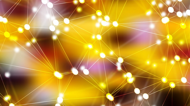 Abstract Pink and Yellow Connected Lines and Dots Background