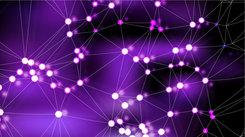 Connecting Dots and Lines Purple and Black Abstract Background Image