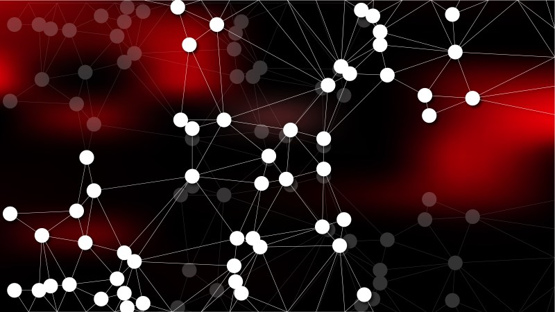 Connecting Dots and Lines Red and Black Abstract Background