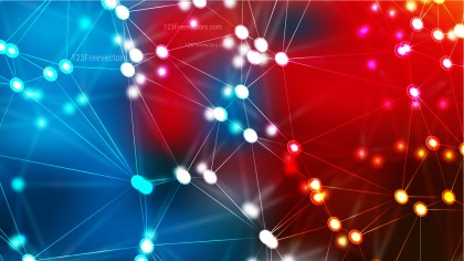 Abstract Red and Blue Connected Lines and Dots Background