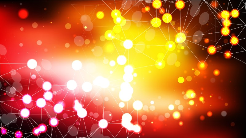 Abstract Red and Yellow Connected Lines and Dots Background Vector Illustration