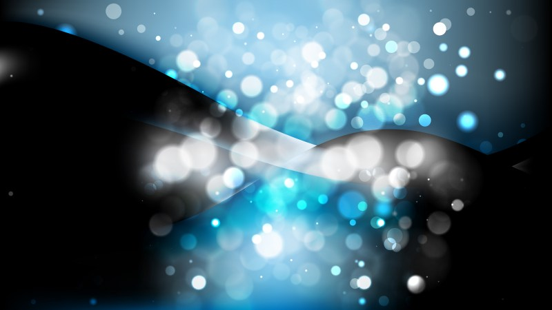 Abstract Black and Blue Bokeh Lights Background Design