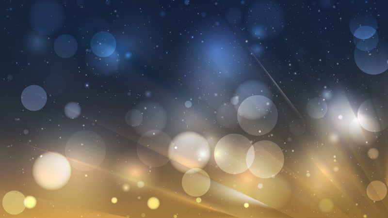 Abstract Blue and Gold Blurred Bokeh Background