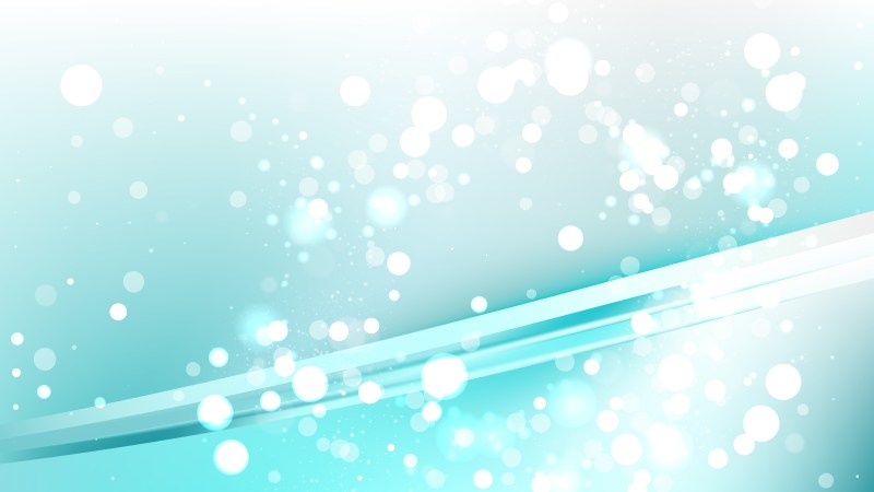 Abstract Turquoise and White Bokeh Lights Background