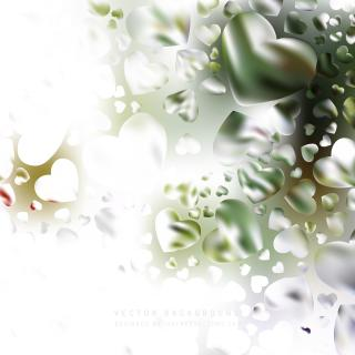 Romantic White Green Hearts Background