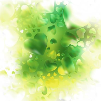 Romantic Yellow Green Hearts Background