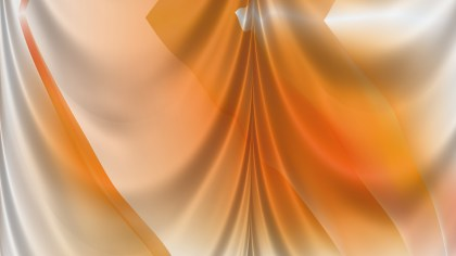 Abstract Orange and White Satin Drapery Textile Background
