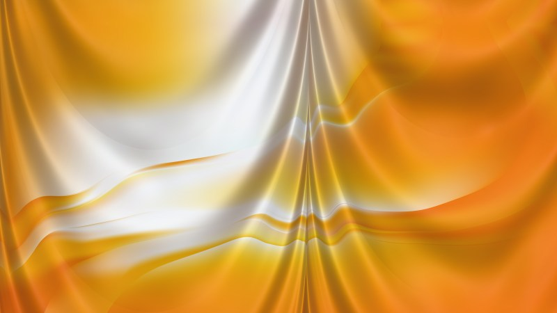 Abstract Orange and White Satin Drapes Background