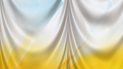 Abstract Yellow and White Satin Drapery Textile Background