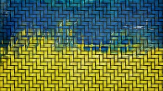 Blue and Gold Bamboo Weave Background