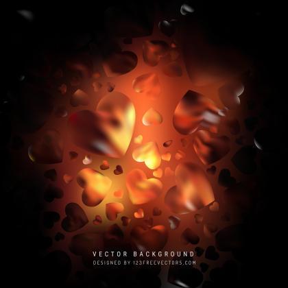 Valentines Day Black Orange Fire Heart Background