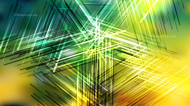 Abstract Green and Yellow Random Intersecting Lines background Vector Art