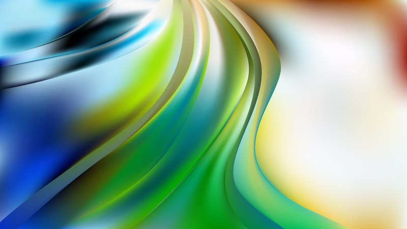 Abstract Blue Green and White Wave Background Vector Illustration