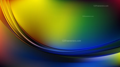 Abstract Glowing Blue Green and Yellow Wave Background