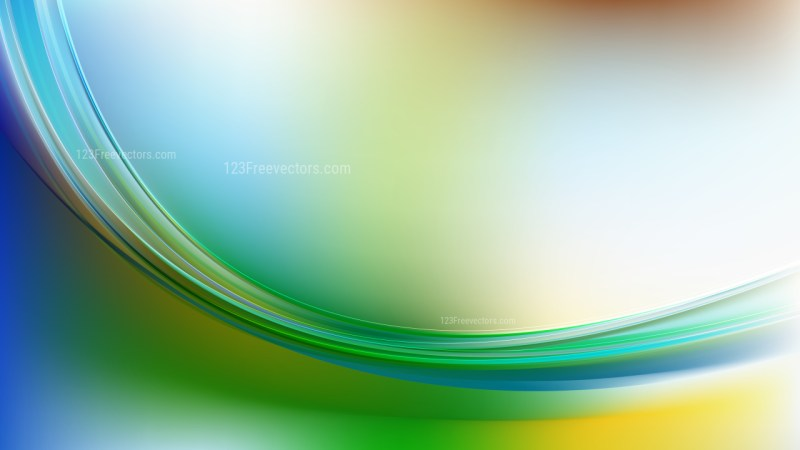 Glowing Abstract Blue Green and Yellow Wave Background Graphic